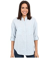 Dylan By True Grit Washed Workmen's Stripe Shirt W Slit Back Chambray Women's Clothing White