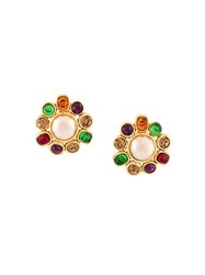 Chanel Vintage Pearl Gripoix Clip On Earrings Multicolour