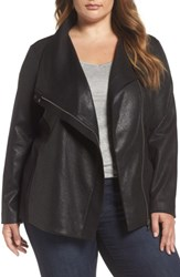 Vince Camuto Plus Size Women's Two By Coated Ponte Knit Moto Jacket