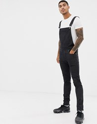 Liquor N Poker Dungarees With Pinstripe In Black