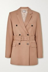 Paul And Joe Laurelie Belted Double Breasted Wool Blend Blazer Camel