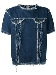 Andrea Crews Frayed Denim T Shirt Blue