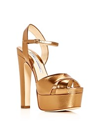 Brian Atwood Women's Madison Leather High Heel Platform Sandals Bronze