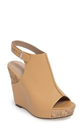Charles By Charles David Women's Ames Platform Wedge Sandal Nude Smooth Leather