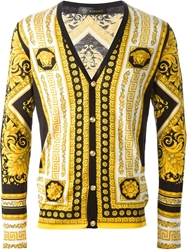 Versace Medusa Print Cardigan Yellow And Orange