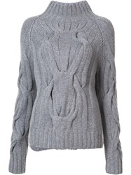 Sally Lapointe Cable Knit Jumper Grey