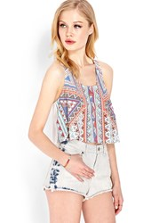 Forever 21 Flared Tribal Print Crop Top