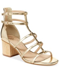 Nanette Lepore By Rebecca Strappy Block Heel Sandals Only At Macy's Women's Shoes Gold