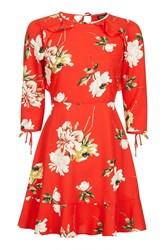 Topshop Petite Red Paint Floral Tea Dress Red