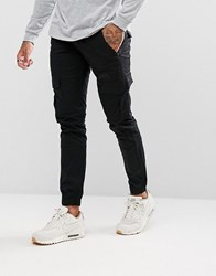 Voi Jeans Cuffed Cargo Joggers In Tapered Fit Black
