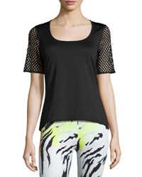 Peony Mesh Short Sleeve Jersey Top Black