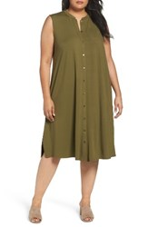 Eileen Fisher Plus Size Women's Jersey Mandarin Collar Duster Dress Olive