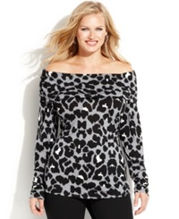 Inc International Concepts Plus Size Animal Print Off The Shoulder Top Lady Leopard