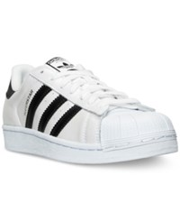 Adidas Men's Superstar Metallic Casual Sneakers From Finish Line White Black Shiny Black
