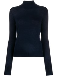 Theory Knitted Turtle Neck Top Blue