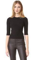Vince Ribbed Elbow Sleeved Cropped Pullover Black
