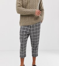 Heart And Dagger Drop Crotch Tapered Smart Trouser In Check Grey