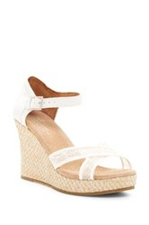Toms Lace And Grosgrain Ribbon Wedge Wedding Sandal White