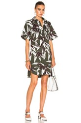 Marni Printed Button Up Dress In Floral Green Floral Green