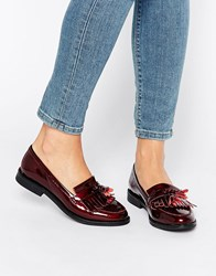 Office Frazzle Tassle Patent Loafers Burgundy Patent Leat Red