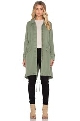 Monrow Long Trench Coat Olive
