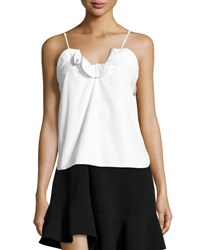 Carven Cotton Poplin Ruffle Trim Tank White