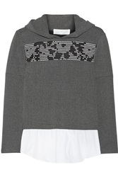 Thakoon Hooded Stretch Knit Sweater Black