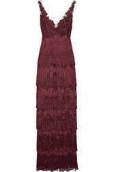 Marchesa Notte Embellished Fringed Tulle Gown Merlot