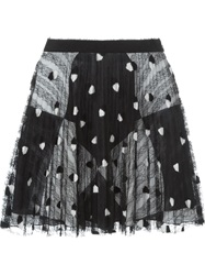 Marco De Vincenzo Lace Overlay Pleated Skirt Black