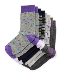 Neiman Marcus Four Pair Wardrobe Sock Set Assorted Purple