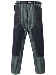 Ganryu Comme Des Garcons Striped Layered Loose Fit Trousers Blue