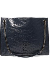 Saint Laurent Niki Large Quilted Crinkled Glossed Leather Tote Navy
