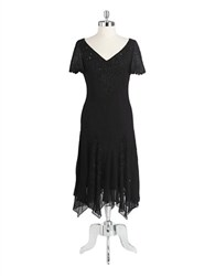 J Kara Beaded Cocktail Dress With Godet Skirt Black