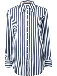 Michael Kors Striped Boyfriend Fit Shirt Women Cotton Polyamide Spandex Elastane 0 Blue
