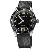 Oris 01 733 7707 4064 07 4 20 18 Men's Divers 65 Rubber Strap Watch Black
