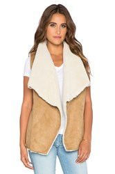 Velvet By Graham And Spencer Ulio Faux Sherpa Vest Tan