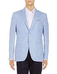 Tallia Orange Classic Fit Jacquard Linen Blend Sportcoat Light Blue