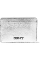 Dkny Metallic Leather Card Holder Silver