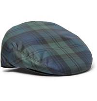 Lock And Co Hatters Water Repellent Checked Twill Flat Cap Black