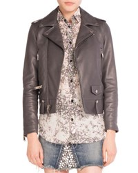Saint Laurent Leather Moto Jacket Gray
