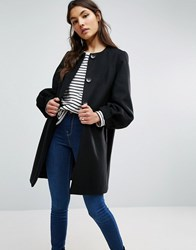 Asos Swing Coat With Bell Sleeve Black