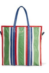 Balenciaga Bazar Striped Textured Leather Tote Green