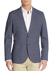 Saks Fifth Avenue Slim Fit Windowpane Check Sportcoat Navy