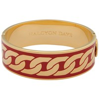 Halcyon Days Curb Chain Hinge Bangle Red Gold