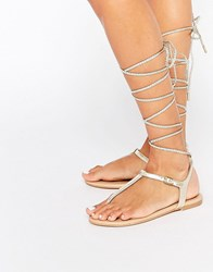 Aldo Peplow Gold Ghillie Tie Leather Flat Sandal Gold