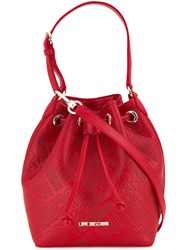 Love Moschino Embossed Logo Shoulder Bag Red