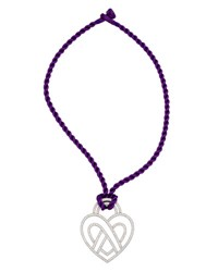 Poiray Wire Heart 18K Diamond Pendant Necklace On Purple Cord