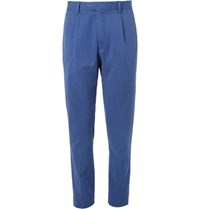 Hartford Teddy Pleated Cotton And Linen Blend Chinos Cobalt Blue