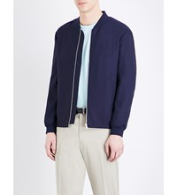 Gieves And Hawkes Contrast Panel Wool Bomber Jacket Navy