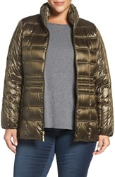 Ellen Tracy Plus Size Women's Water Repellent Quilted Jacket Olive